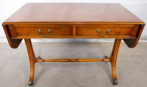Antique Regency Style Yew Wood Sofa Table by Reprodux - SOLD